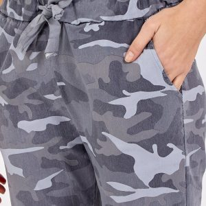 Magic non crushed camo stretch trousers in grey