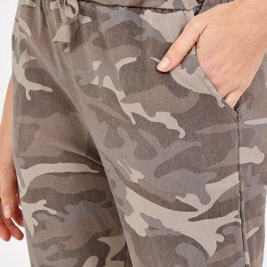 Magic non crushed camo stretch trousers in mocha