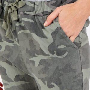 Magic non crushed camo stretch trousers in khaki