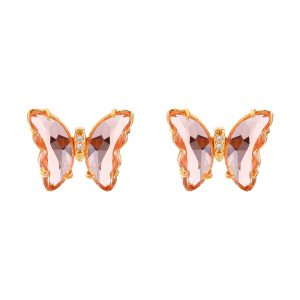 Butterfly Earring Gold and Pink