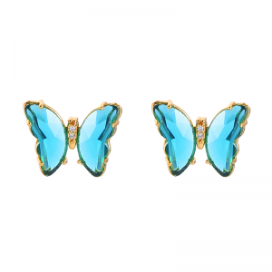 Butterfly Earring Gold and Turquoise