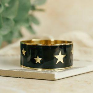 Black multi star enamel bangle