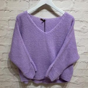 Purple/ lilac knitted v neck sweater
