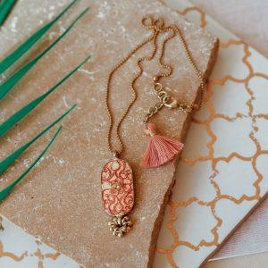 blush pink shield necklace