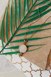 Champagne enamel long necklace