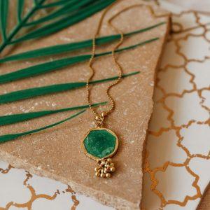 Apple Green enamel long necklace