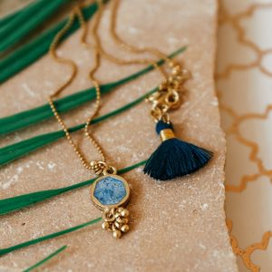 denim blue enamel short necklace