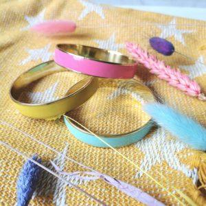 Buttercup yellow narrow enamel bracelet