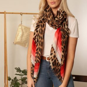 Red and neutral stripe leopard scarf
