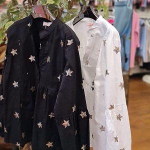 Black & white gold sequin star blouses