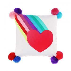 RAINBOW BURST WITH HEART embriodered cushion