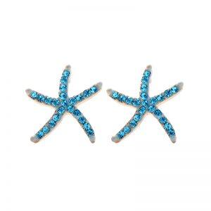 Crystal star fish earrings