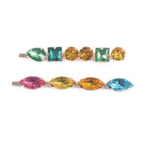 Coloured glass hairslides
