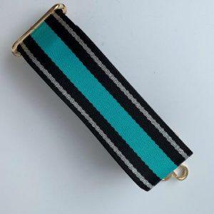 Bag Strap Black and Jade Stripe
