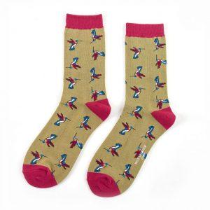 Hummingbird Bamboo socks in Olive