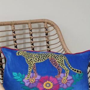 Velvet blue wild leopard embroidered rectangular cushion
