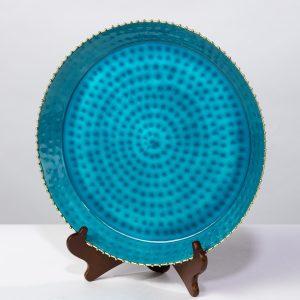 Blue hammered enamel platter