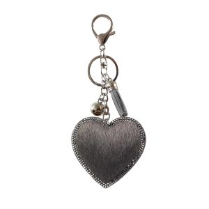 Faux fur heart key ring grey