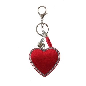 Faux fur heart key ring red
