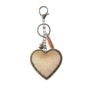 Faux fur heart key ring beige