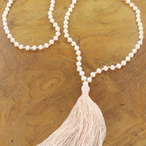 Long Crystal Bead Tassel Necklace Cream