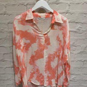 Coral & white cotton top