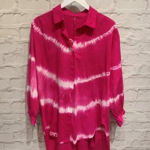 Fushcia pink Tie Dye Oversized Shirt