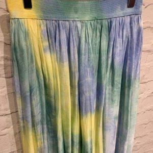 Blue silk tie dye skirt