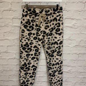 Leopard joggers in beige