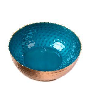 Blue hammered enamel bowl