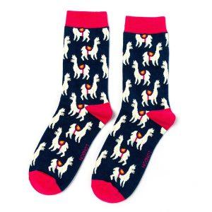 Llama Socks Navy