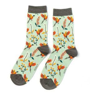 Pheasants and Flowers Socks Duck Egg
