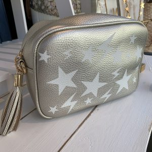 Crossbody bag in silver with stars
