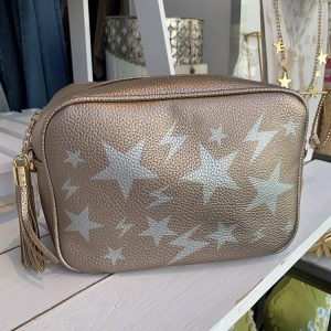 Crossbody bag in rose gold with stars