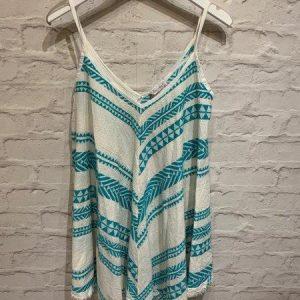 Blue strappy v neck summer dress