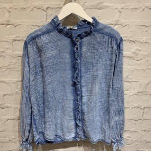 Blue blouse with frill