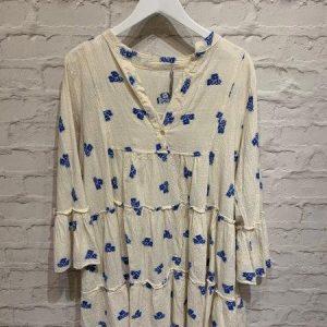 Cream and Blue tiered boho dress