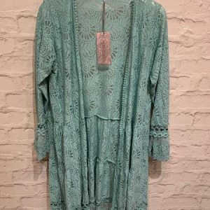 Lace longline summer cardigan in turquoise