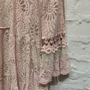 Lace longline summer cardigan in blush pink