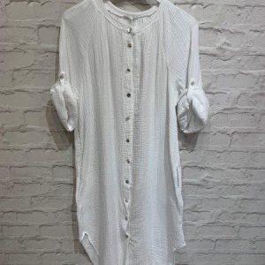 Longline button shirt dress in white