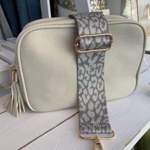 Cream double zipper cross body bag
