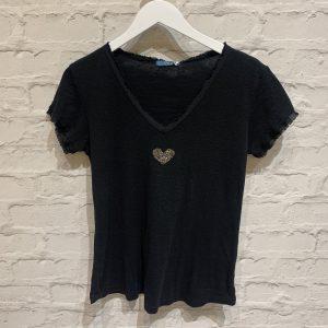 Black v neck cotton tee
