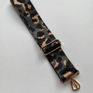 Bag strap dark grey cheetah