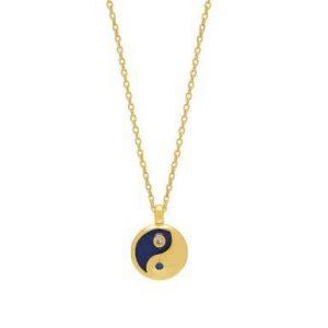 Estella Bartlett Yin Yang CZ enamel pendant necklace