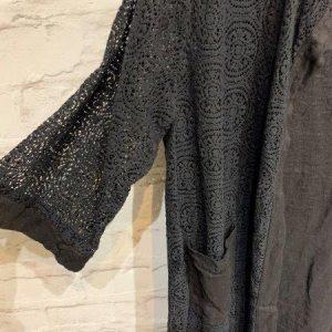 Black mid length crochet jacket