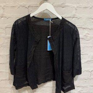 Black cropped crochet jacket