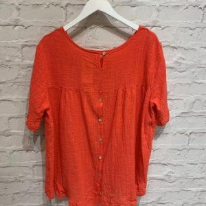 Coral oversized top with buttons