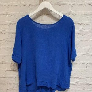 Blue oversized top with buttons