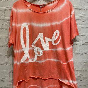 Coral love tie dye t.shirt