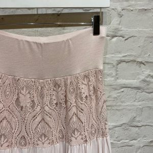 Pink lace maxi skirt